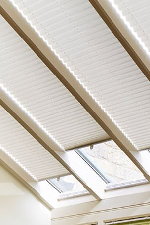 cream pleated blinds in a skylight window