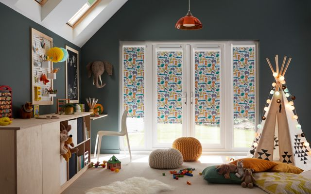 jungle book safari perfect fit roller blinds in a children's playroom