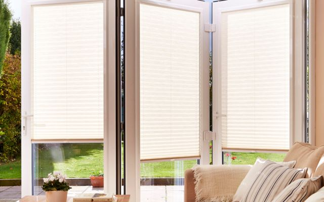 pleated cream conservatory blinds