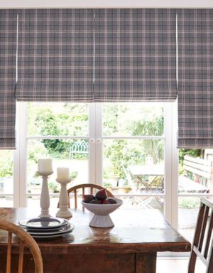 Wallace Cranberry Tartan Patterned Roman Blinds in Dining Room