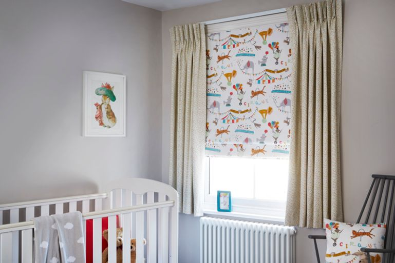 Colourful child's nursery with yellow children's curtains