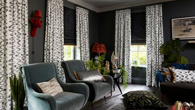 Abigail Ahern curtains in a stylish modern living room