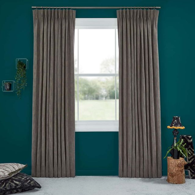 Abigail Ahern Garratt Bullrush Curtains set against teal painted walls