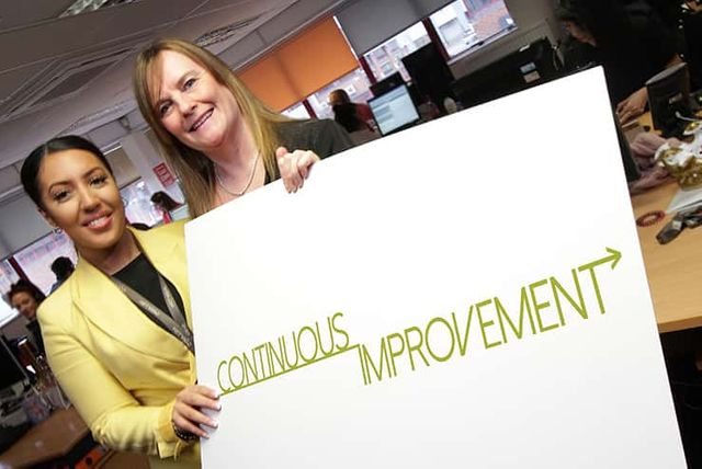 Two people holding a sign that says continous improvement