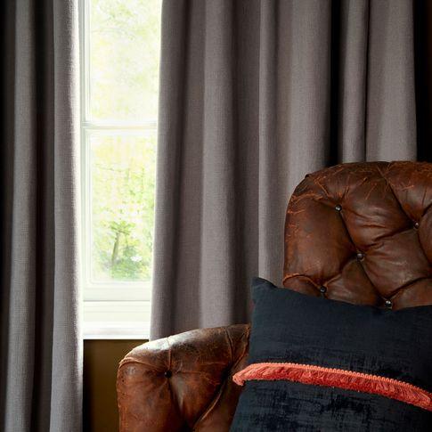 HIL_ABIGAILAHERN_LANDSCAPE_Garratt-Peat_curtains_and_Cley-Mole_cushion_with_Colette-Amour_fringing