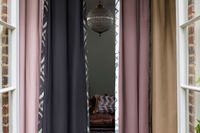 A selection of Abigail Ahern coloured Curtains Linings in Dockyard, Chimney, Tanner and Tobacco fabric