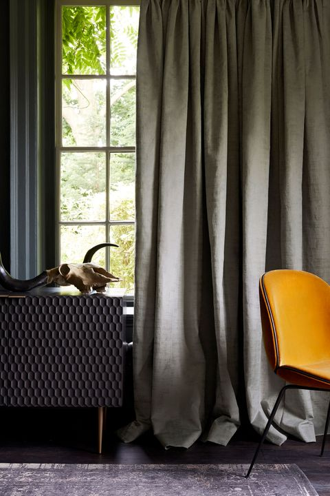Edgy room decorated with Grey Velvet Curtains