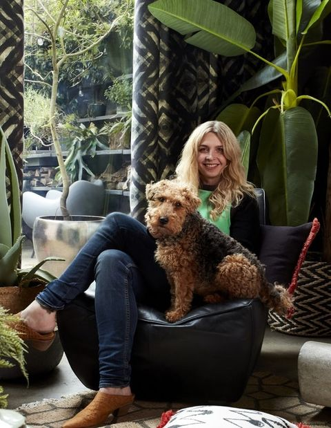 Someone sat with a dog in a living that is decorated with plants and cushions in various abigail ahern designs, while gasoline patterned curtains hang from a door window