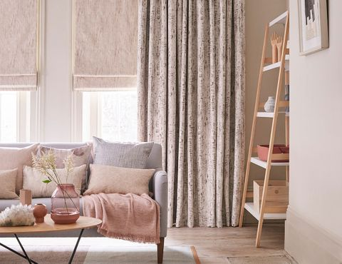 Roman blinds in Mineral Linen and curtains in Mirage Pumice