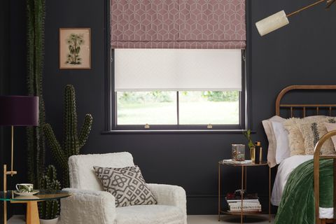 bedroom with nexus blush roman blind with blackout lining