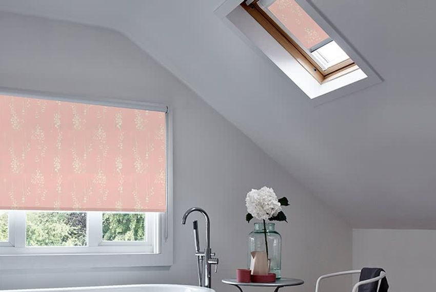 Bloc blind in Somma Blush style covering large window and skylight window
