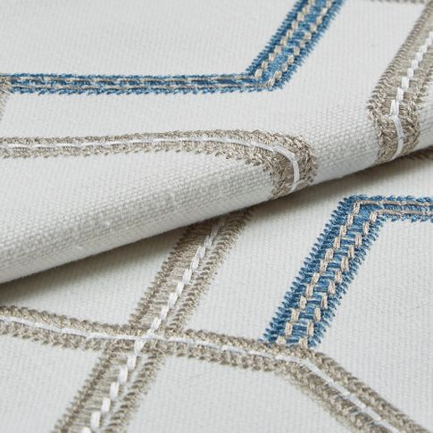 Folded swatch photography of a Verve Blue Roman Blind