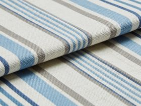 White base fabric with repeating stripes of beige and blue