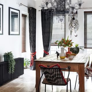 Dining room with Beats Haze curtains and Burntwood Venetians