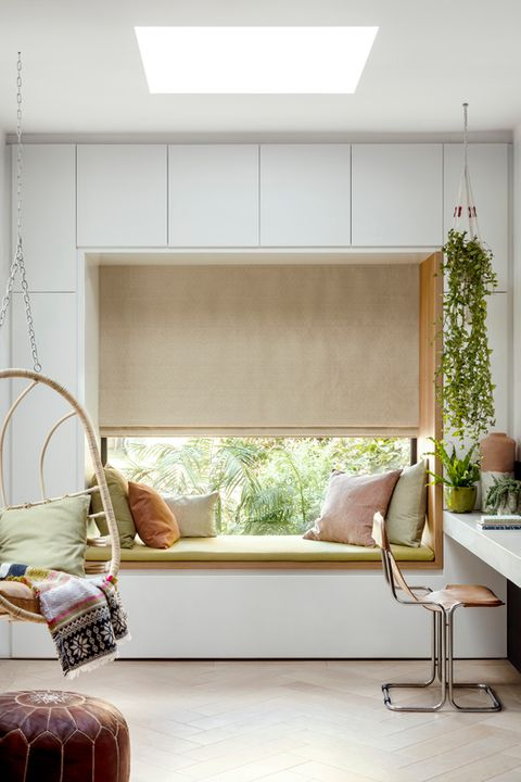 Abacus Lint Roman blind hung in a window seat