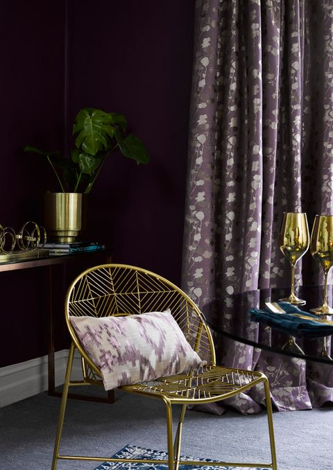 Stylish Lavender curtains hanging in a luxurious bedroom