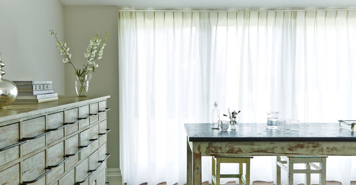 White voile curtains in a roomset
