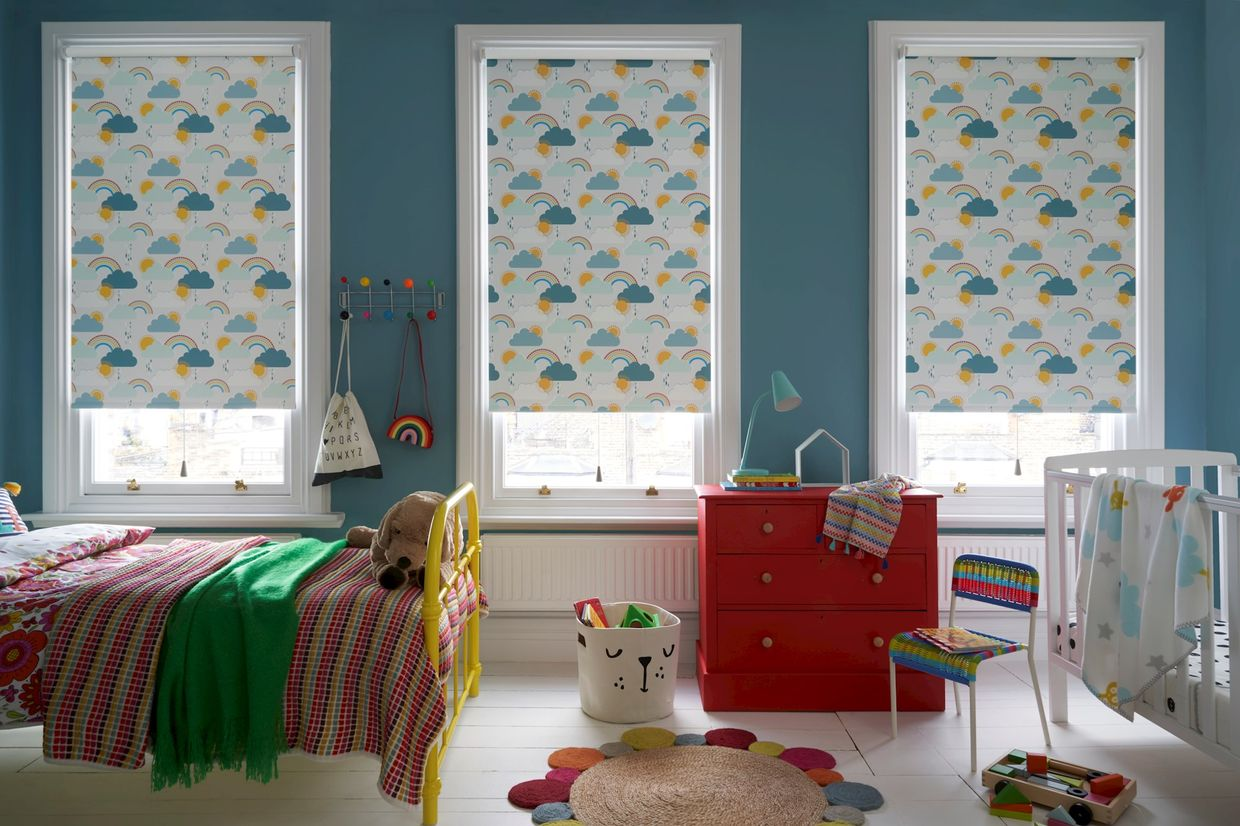 Rainbow Dreams Mineral roller blind in a child's bedroom