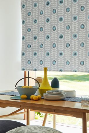 Blue Printed Blackout Blinds in Dining Room