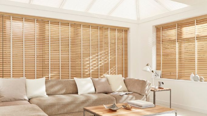 Haywood Scandinavian Beech wooden blind in conservatory