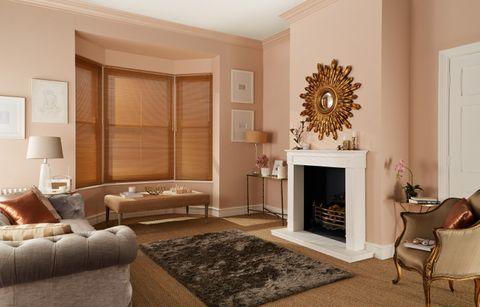 Luxurious living room with Gold Metallic Venetian Blinds