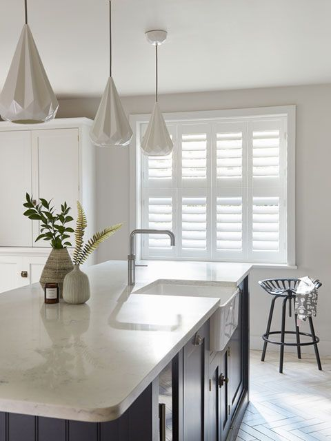 Henley white tier-on- tier shutters in kitchen