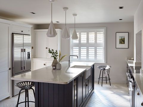 Henley white tier-on-tier shutters in kitchen