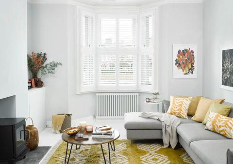 White tier-on-tier shutters in living room