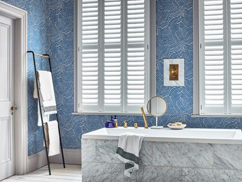 Henley white full height shutters in bathroom