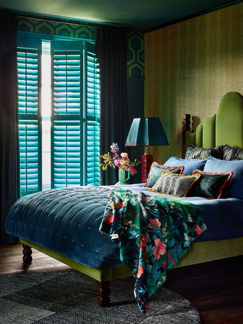 Custom colour shutters in bedroom