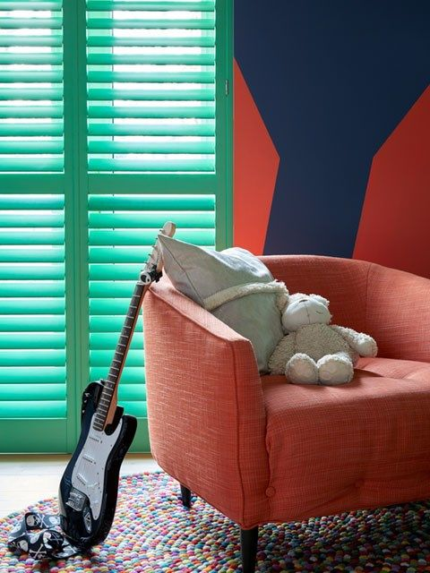 Green shutters in Erica Davies' playroom