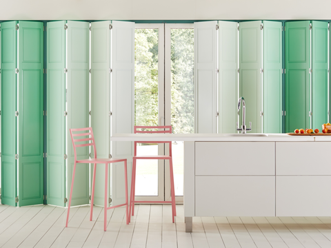 Green ombre custom colour shutters