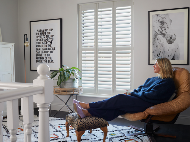 Silk white full height shutters in Erica Davies' home