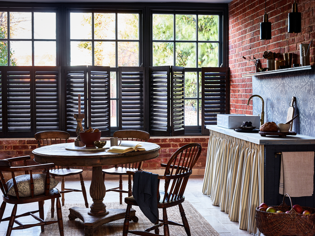 Cafe-style kitchen shutters in Black Walnut