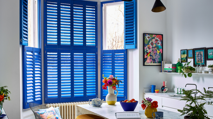 Custom colour shutters in blue in kitchen