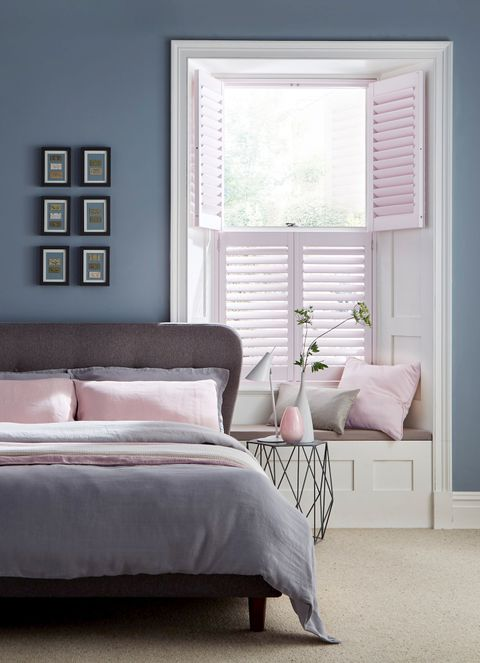 Chalk Pink shutters in a soft bedroom
