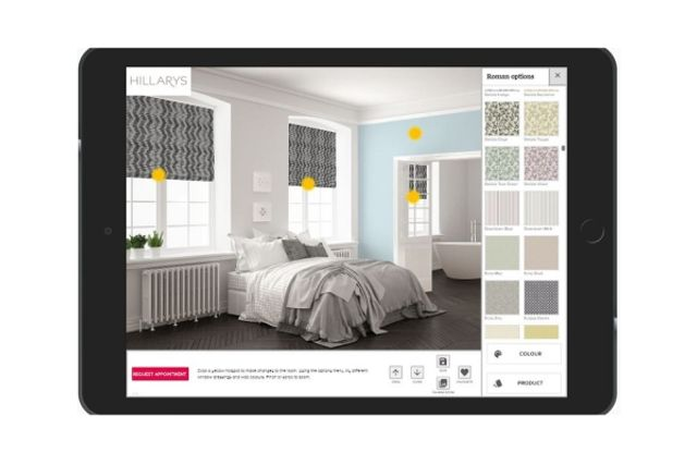hillarys visualisation app showing how grey blinds might look in a bedroom window
