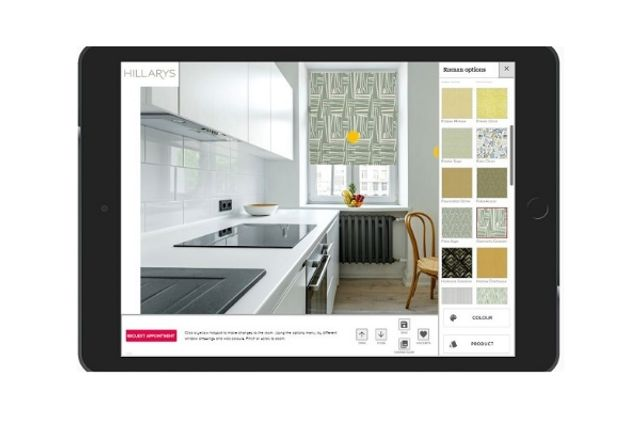 hillarys visualisation app with a bright green roman blind in a kitchen window