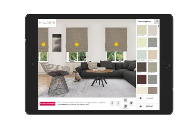Hillarys product visualisation app being used in a living room
