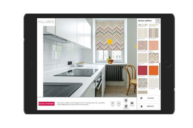 visualisation app showing a pink and orange patterned blind in a kitchen window
