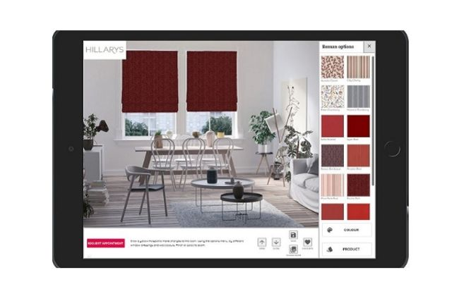 visualisation app showing a red roman blind in a living/dining room window
