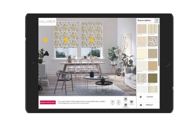 hillarys visualisation app showing how yellow roman blinds might look in a dining room window