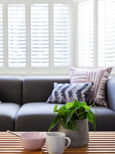 Aura White Shutters in living room