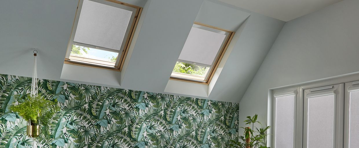 Acacia Silver Skylight blind in living room