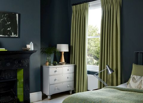 Lindora Wasabi curtains in bedroom