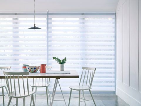 White Enlight Day and Night blinds hung in kitchen