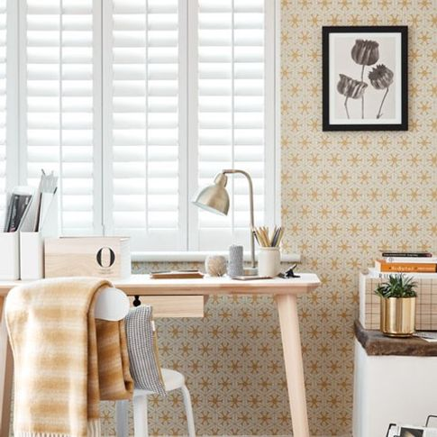 Aura White Shutters in home office
