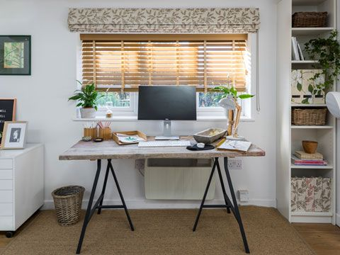 Oakwood Faux Wooden blinds hung in home office