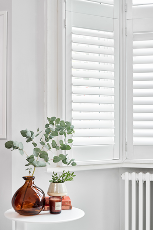 Tier on tier shutters in Vellum in living room