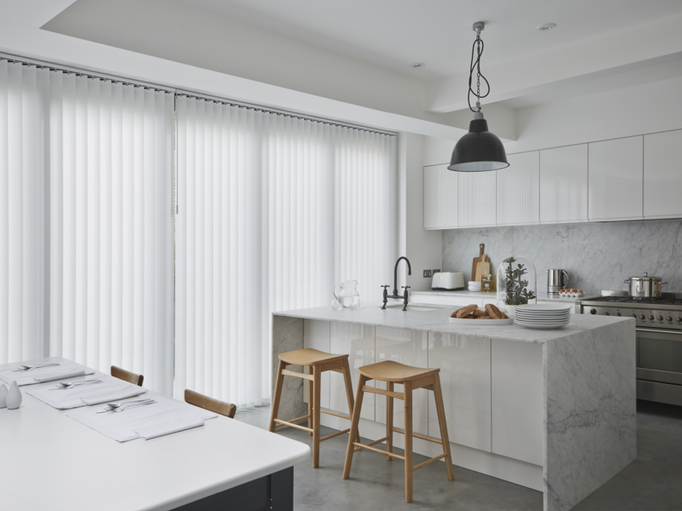 Alma White Verticals in kitchen